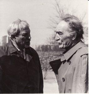 Charles'o Dullino du mokiniai – Juozas Miltinis ir Jeanas Vilaras – susitiko Vilniuje, 1971 m. gegužės 8 d. Fotogr. Ch. Levino. PAVB FJM-1021/6