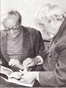 Juozas Miltinis su jaunystės laikų bičiuliu Jeanu Mecure'u Panevėžyje, 1974. PAVB FJM-1021/7