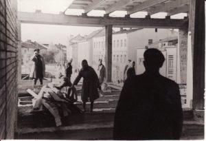 Panevėžio dramos teatro statyba. Fotogr. Kazimiero Vitkaus. PAVB FKV-342/7