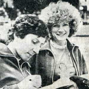 Olimpinės čempionės Aldona Česaitytė-Nenėnienė ir Sigita Mažeikaitė-Strečen (dešinėje).