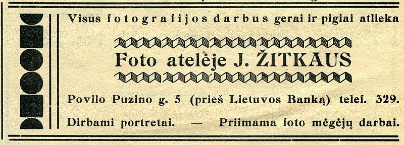 """J. Žitkaus fotoateljė reklama 1937 m. birželio 19 d. """"Panevėžio garse"""""""