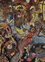 """Algirdas Grinius. """"Banginio medžioklė"""". Aliejus, drobė, 34,5x31, 1996"""
