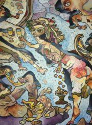 """Algirdas Grinius. """"Giminės"""". Aliejus, drobė, 55x38, 1999"""