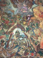 """Algirdas Grinius. """"Pasiruošimas Adomo gundymui"""". Aliejus, drobė, 90x80, 1999"""
