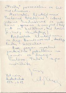 Rašytojo Mykolo Sluckio laiškas, rašytas J. Miltiniui 1967 m. kovo 1 d.