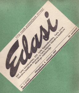 """Estijos Tartu miesto laikraščio """"Edasi"""" iškarpa iš K. Vitkaus fonde saugomo iškarpų apie Panevėžio dramos teatrą albumo."""