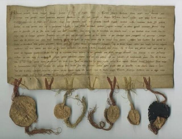 1254 m. Livonijos akto originalas saugomas Latvijos valstybiniame istorijos archyve. Nuotrauka iš www.ausrosmuziejus.lt