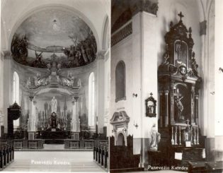 1. Panevėžio katedros vidus. XX a. 4 deš. Nuotrauka iš Panevėžio kraštotyros muziejaus rinkinių
