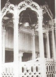 """3. Panevėžio sinagogos bima. Nuotrauka iš M. Rupeikienės monografijos """"Nykstantis kultūros paveldas: Lietuvos sinagogų architektūra"""""""