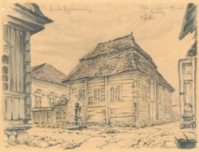"""1. Panevėžio sinagoga, 1928 m. Dailininkas Gerardas Bagdonavičius. Piešinys iš Šiaulių """"Aušros"""" muziejaus rinkinių."""