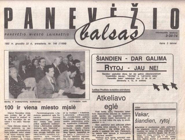 """""""Panevėžio balsas"""" (1992) apie pirmąją Panevėžio istorikų konferenciją"""
