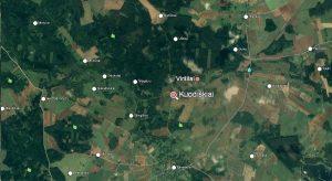 V. Mirono gimtinė – Kuodiškiai – žemėlapyje. Iš: http://aroundguides.com/34936962/Map