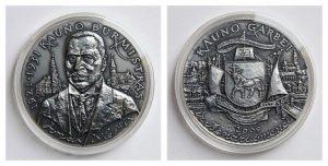Kauno miesto burmistro J. Vileišio medaliai. Dail. P. Gintalas. Iš: http://www.kaunas.lt/apie-kauna/skiriami-apdovanojimai/kauno-miesto-burmistro-jono-vileisio-medaliai/