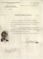 Lietuvos pasiuntinybės Prancūzijai 1934 m. birželio 15 d. išduotas moksleivio asmens liudijimas, duotas pristatyti geležinkelių bilietų kasoms nuolaidoms gauti, vykstant Lietuvos Valstybės geležinkeliais. PAVB FJM-5/4