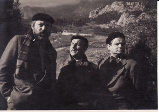 """Filmuojantis filme """"Adomas nori būti žmogumi"""". Kairėje – Juozas Miltinis, dešinėje – Vaclovas Blėdis. 1959 m. PAVB FJM-1012/2"""