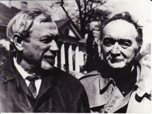 Du seni draugai – Juozas Miltinis ir Žanas Vilaras (Jean Vilar) – susitikime Vilniuje. 1971 m. Fotogr. Ch. Levino. PAVB FJM-1021/3