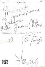 """Lapelis iš autorinės Stasio Eidrigevičiaus užrašų knygelės, su įrašu Juozui Miltiniui: """"Prisiminti tą nepamirštamą vakarą Mielam Juozui Miltiniui Stasys 1992 XII 21"""". PAVB FJM-966/2"""