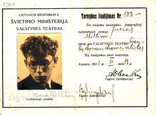 Valstybės teatro 1931 m. lapkričio 13 d. Juozui Miltiniui išduotas pažymėjimas. PAVB FJM-3
