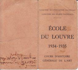 Luvro mokyklos pažymėjimas, leidžiantis Juozui Miltiniui lankyti meno istorijos paskaitas 1934–1935 m. PAVB FJM-5/3