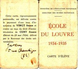 Luvro mokyklos mokinio pažymėjimas, išduotas Juozui Miltiniui, suteikiantis teisę nemokamai lankytis nurodytuose muziejuose nuo 1934 m. lapkričio15 d. iki 1935 m. lapkričio 15 d. PAVB FJM-5/2