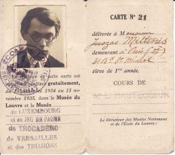 Luvro mokyklos mokinio pažymėjimas, 1934–1935 m. PAVB FJM-5/2