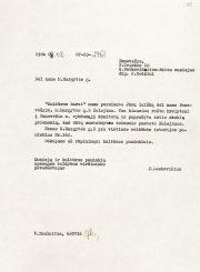 2. Kultūros ministerijos atsakymas Juozui Mėdžiui. Iš Lietuvos literatūros ir meno archyvo fondų