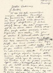 3. Juozo Mėdžiaus laiškas Juozui Baltušiui (fragmentas). Iš Lietuvos literatūros ir meno archyvo fondų