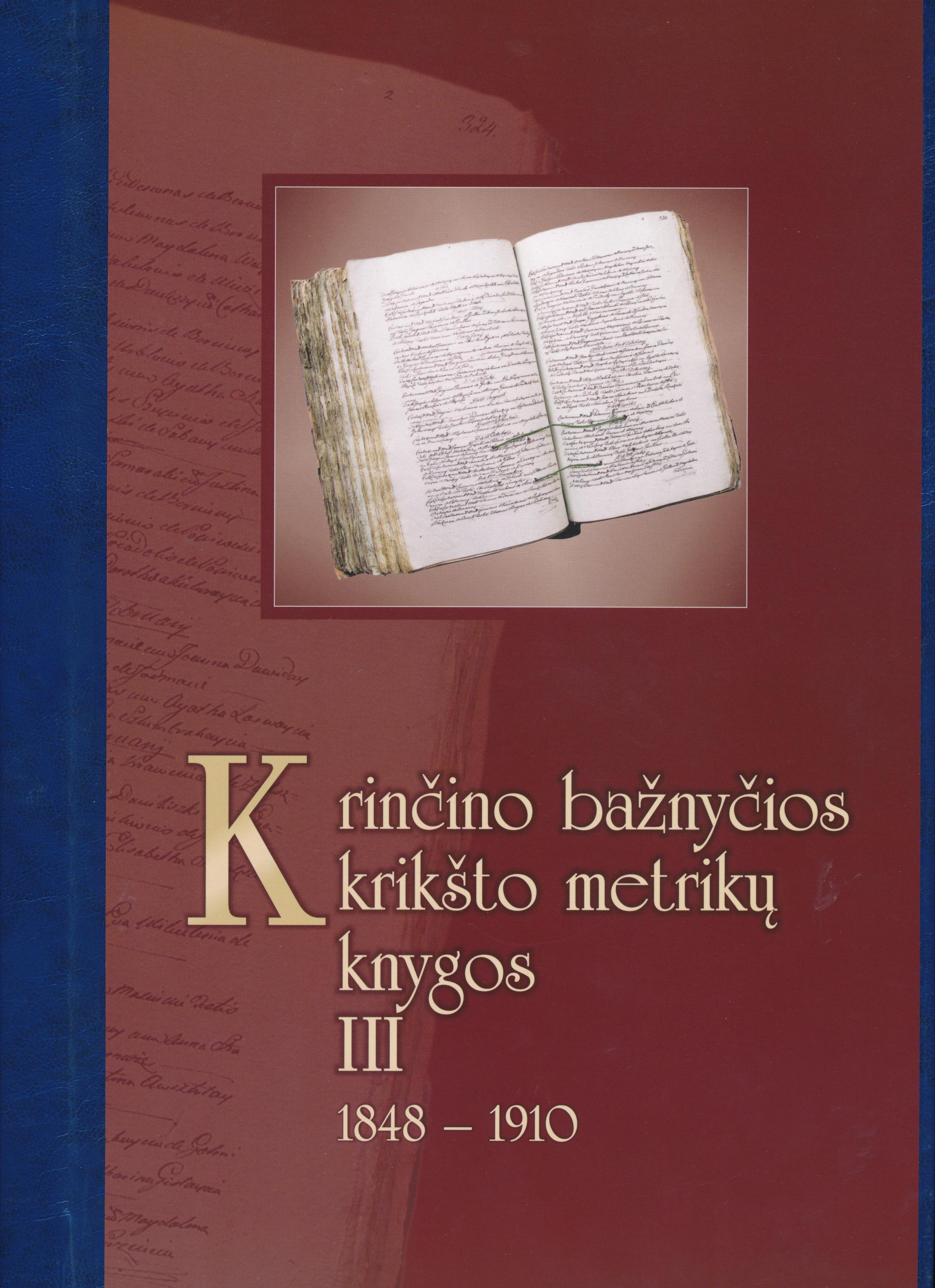 Krinčino bažnyčios krikšto metrikų knygos. D. 3