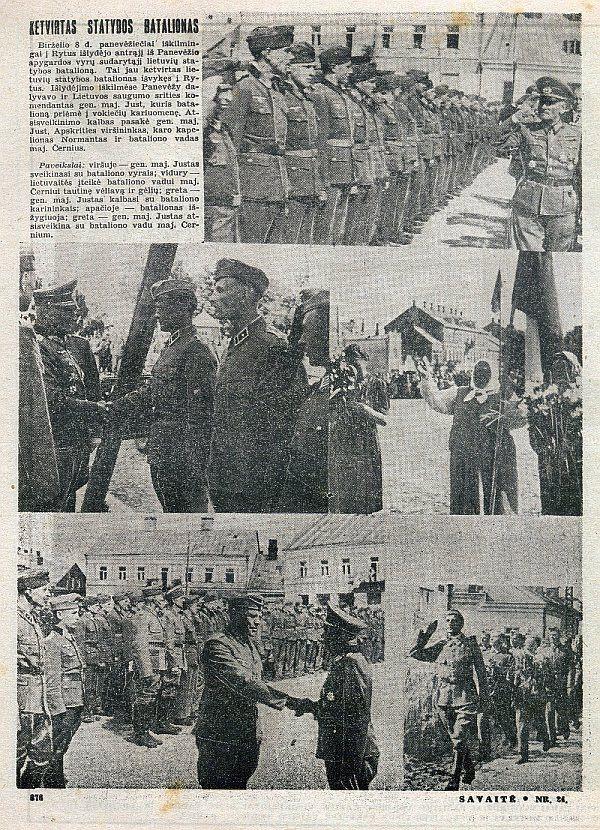 """Statybos bataliono išlydėtuvės Panevėžyje 1943 m. birželio mėn. Nuotrauka iš laikraščio """"Savaitė"""", 1943 m."""