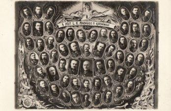 Ketvirtojo pėstininkų Lietuvos karaliaus Mindaugo pulko karininkai. Panevėžys. 1924 m. I. Frido nuotrauka. PKM GEK 19434