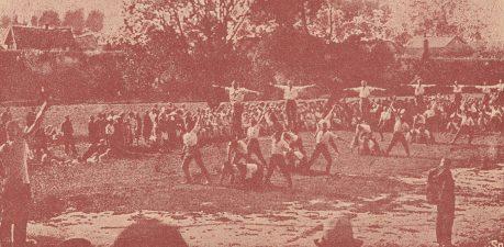 Ketvirtojo pėstininkų pulko sportininkai. Nuotrauka iš: 4 p. L. K. M. p. 15 metų sukaktis. [Kaunas, 1934], p. 23