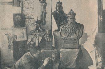 Ketvirtojo pėstininkų pulko jaunas kareivis Bučys [Bernardas Bučas] savam atelje. Nuotrauka iš: Karys. 1931, nr. 2, p. 34