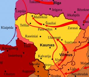 Bolševikų frontas 1919 m. sausį (raudona linija). Schema iš: https://lt.wikipedia.org/wiki/Lietuvos_nepriklausomyb%C4%97s_kovos