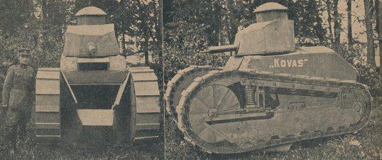 Ketvirtojo pėstininkų pulko dirbtinis mokomasis tankas ir jo konstruktorius vyr. pusk. Butkevičius. Nuotrauka iš: Karys. 1930, nr. 25–26, p. 510