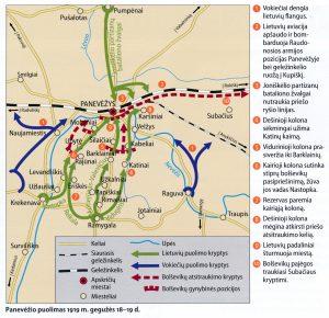 Panevėžio puolimas 1919 m. gegužės 18–19 d. Schema iš: Žymiausi Lietuvos mūšiai ir karinės operacijos. Vilnius, 2013, p. 181