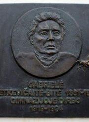"""2. G. Petkevičaitės-Bitės bareljefas (skulpt. V. Tallat-Kelpša) Panevėžio J. Balčikonio gimnazijoje. Iš Panevėžio apskrities G. Petkevičaitės-Bitės viešosios bibliotekos virtualios parodos """"Gabrielė Petkevičaitė-Bitė"""""""