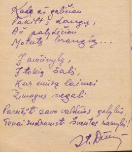 Šneideris Stasys. Kad aš galėčiau...: [eilėraščiai iš Stasio Šneiderio tremties metų užrašų knygelės]. Ust-Omčiugas (Tenkos r., Magadano sr.). XX a. 5–6 deš. PAVB F51-18
