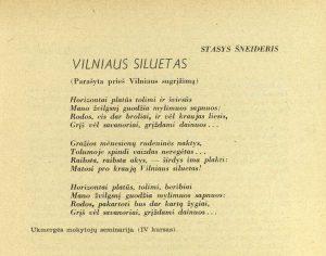 Šneideris, Stasys. Vilniaus siluetas // Mokslo dienos, 1939, nr. 9/10, p. 441