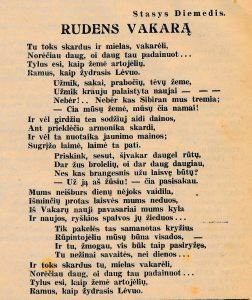 [Šneideris]-Diemedis, Stasys. Rudens vakarą // Panevėžietis, 1941, spal. 19, p. 1
