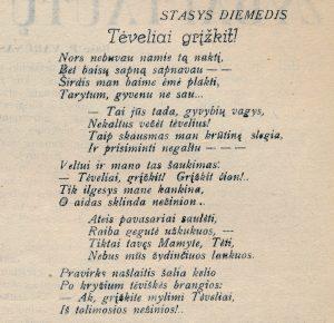 [Šneideris]-Diemedis, Stasys. Tėveliai, grįžkit! // Panevėžio apygardos balsas, 1942, bal. 12, p. 3