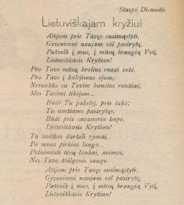 [Šneideris]-Diemedis, Stasys. Lietuviškam kryžiui // Panevėžio apygardos balsas, 1942, liep. 19, p. 2