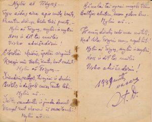 Šneideris Stasys. Myliu aš Tėvynę...: [eilėraščiai iš Stasio Šneiderio tremties metų užrašų knygelės]. Ust-Omčiugas (Tenkos r., Magadano sr.). XX a. 5–6 deš. PAVB F51-18