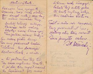 Stasys Šneideris. Neužmirštuolė: [eilėraščiai iš Stasio Šneiderio tremties metų užrašų knygelės]. Ust-Omčiugas (Tenkos r., Magadano sr.). XX a. 5-6 deš. PAVB F51-18