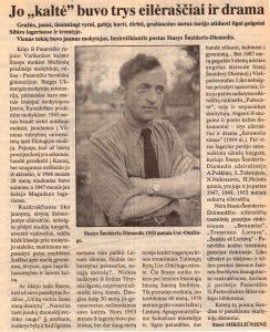 """Mikeliūnienė, Stasė. Jo """"kaltė"""" buvo trys eilėraščiai ir drama. Portr. // Panevėžio rytas, 1995, birž. 9, p. 9"""