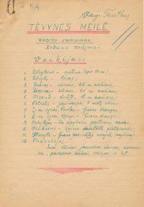 Šneideris Stasys. Tėvynės meilė: radijo vaidinimas / aut. pasirašė slapyvardžiu: Stasys Tautkus. [Karsakiškis (Panevėžio r.)]. 1943 m. PAVB F51-35