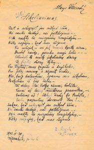 """Iškeliavimas: [eilėraštis iš ruošto spaudai eilėraščių rinkinio """"Pašvaistė""""]. Karsakiškis. 1942 m. PAVB F51-23"""
