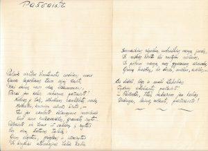 """Pašvaistė: [eilėraštis iš ruošto spaudai eilėraščių rinkinio """"Pašvaistė""""]. PAVB F51-23"""