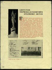 2. Lietuvos nepriklausomybės aktas. Iš privačios kolekcijos