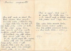 """Broliui emigrantui: [eilėraštis iš ruošto spaudai eilėraščių rinkinio """"Pašvaistė""""]. Panevėžys. 1937 m. PAVB F51-23"""