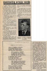 [Šneideris]-Diemedis, Stasys. Prie Lėvens; Aukštaičių artojų vardu // Panevėžio apygardos balsas, 1942, lapkr. 28, p. 9